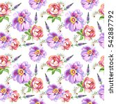 wildflower rose flower pattern... | Shutterstock . vector #542887792