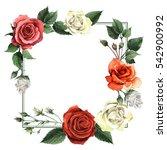 wildflower rose flower frame in ... | Shutterstock . vector #542900992