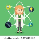 female scientist with icons | Shutterstock .eps vector #542904142