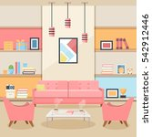 pink living room with furniture.... | Shutterstock .eps vector #542912446