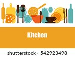 vector set of kitchen utensils... | Shutterstock .eps vector #542923498