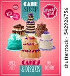 baked cakes cartoon poster with ... | Shutterstock .eps vector #542926756