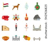 set of isolated hungary flat... | Shutterstock .eps vector #542926825