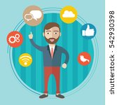 businessman with social network ...   Shutterstock .eps vector #542930398