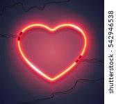 bright heart. neon sign. retro... | Shutterstock .eps vector #542946538