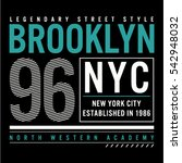 brooklyn typography  t shirt... | Shutterstock .eps vector #542948032