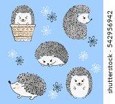 set of cute watercolor... | Shutterstock .eps vector #542956942
