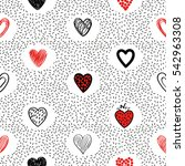 Doodle Hearts Seamless Pattern...
