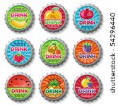 fruity bottle caps 3   vector... | Shutterstock .eps vector #54296440
