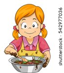 illustration of a little girl... | Shutterstock .eps vector #542977036