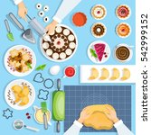 baker workplace top view set.... | Shutterstock . vector #542999152