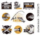 Hand Drawn Fishing Logo Emblem...