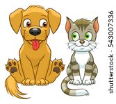 Cute Cartoon Cat And Dog