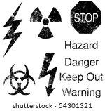 A Set Of Grunge Hazard And...