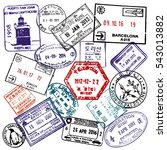 travel and visa passport stamps ... | Shutterstock .eps vector #543013882