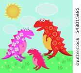 card with funny cartoon... | Shutterstock . vector #543015682