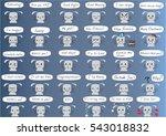 vector cartoon rabbit face set | Shutterstock .eps vector #543018832