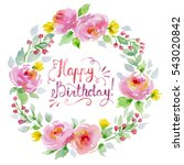 watercolor floral wreath with... | Shutterstock . vector #543020842