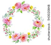 watercolor floral wreath on... | Shutterstock . vector #543020848
