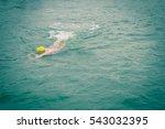 swimmer wear the yellow bathing ... | Shutterstock . vector #543032395