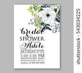 anemone wedding invitation card ... | Shutterstock .eps vector #543034225