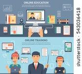 two horizontal online education ... | Shutterstock . vector #543036418