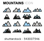 vector flat mountains icons set ... | Shutterstock .eps vector #543037546
