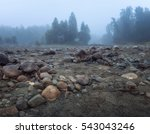 misty morning with rocky ground ... | Shutterstock . vector #543043246