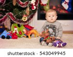 christmas portrait of a young... | Shutterstock . vector #543049945