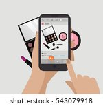 hand holding mobile phone and... | Shutterstock .eps vector #543079918