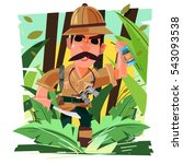 explorer walking in the jungle... | Shutterstock .eps vector #543093538