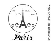 paris landmark eiffel tower... | Shutterstock .eps vector #543097012