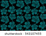 seamless tropical flowers in... | Shutterstock . vector #543107455