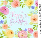 painted watercolor floral frame ... | Shutterstock . vector #543114682
