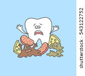 cartoon tooth with bacteria and ... | Shutterstock .eps vector #543122752