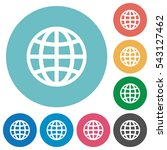 globe flat white icons on round ...   Shutterstock .eps vector #543127462