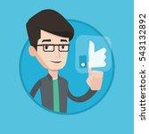 man pressing like button. man... | Shutterstock .eps vector #543132892