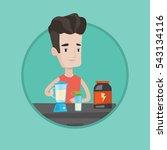 sportsman making protein shake. ... | Shutterstock .eps vector #543134116