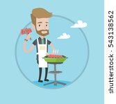 hipster man cooking meat on the ... | Shutterstock .eps vector #543138562