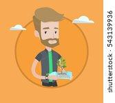 hipster man holding plastic... | Shutterstock .eps vector #543139936