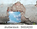 Blue Sky Hole In Aged Brick...