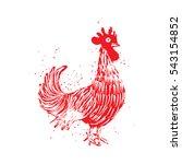 rooster red label. vintage... | Shutterstock . vector #543154852