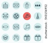 set of 16 holiday icons.... | Shutterstock .eps vector #543156952