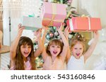 three young happy girls in a... | Shutterstock . vector #543160846