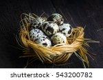 Quail Eggs In Nest. Heap Of...