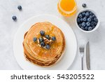 stack of pancakes with fresh... | Shutterstock . vector #543205522