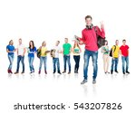 large group of teenage students ... | Shutterstock . vector #543207826