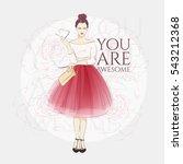 beautiful young women in a... | Shutterstock .eps vector #543212368