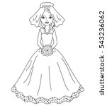 vector elegant bride in black... | Shutterstock .eps vector #543236062
