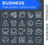 set of thin line business icons ...